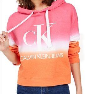 NWT-Calvin Klein cropped tie-dye graphic hoodie